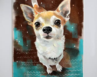 Custom Chihuahua dog portrait. A gift for a birthday, a portrait of his beloved dog. Painting, pastel. handmade. Custom pet portrait