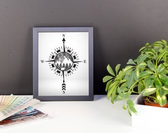 Mountain Compass Art Print - Black and White - Hand Drawn Details