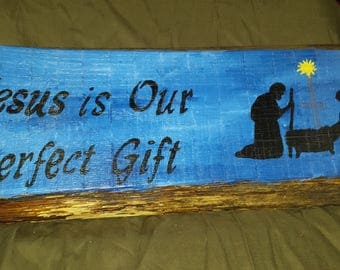 Christmas Nativity reclaimed live edge hand painted wood sign