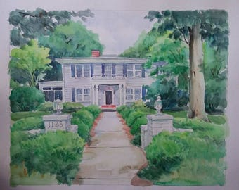 Custom original hand painted watercolor house painting