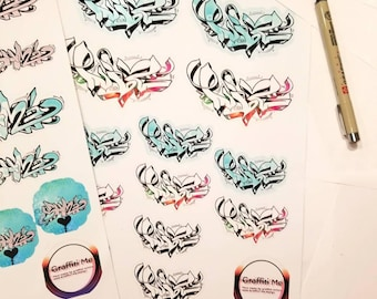 Custom Graffiti Name Stickers, Graffiti Art Stickers, Personalized Sticker Art, Abstract Graffiti Stickers, Street Graffiti Art & Stickers