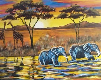 Sunset in Africa,Afriacn art,African painting,Acrylics on canvas painting,Hand painting.