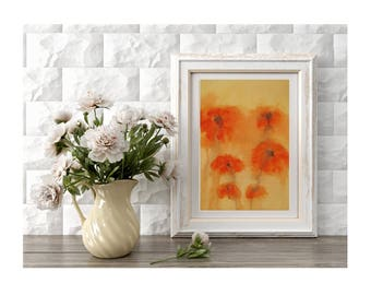 Original Red Poppies Wall Art Field of Red Poppies Painting Abstract Flowers Small Art Decor Spring Flowers Gift for Mother