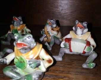 Occupied japan porcelain frog set of 7 frogs