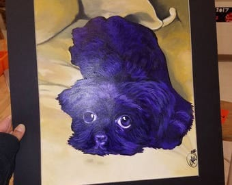 Custom pet painting framed and shipped