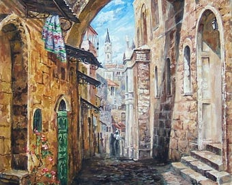 Jerusalem, The holy city of Jerusalem, cityscape, Wall Decor ,Gift for friend
