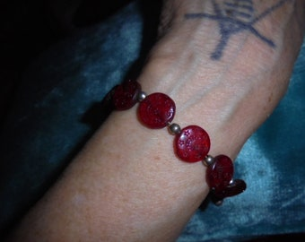 Moroccan Jewelry, old Berber red glass or carved stone, silver bracelet