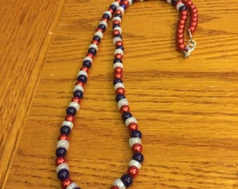 Usa necklace, 4th of july, necklace, flag necklace, red beaded, white beaded, blue beaded, beaded necklace, long necklace, patriotic