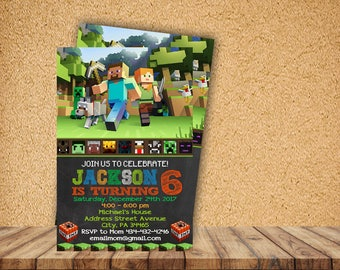 Minecraft birthday invitation etsy minecraft invitationminecraft birthdayminecraft partyminecraft birthday invitationminecraft birthday party stopboris Images