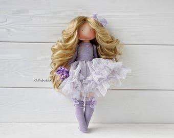 Textile doll. Doll. Tilda. Tilda doll. Interior doll. Decor doll. Purple. Handmade doll. Art doll by Olesya Nestratova