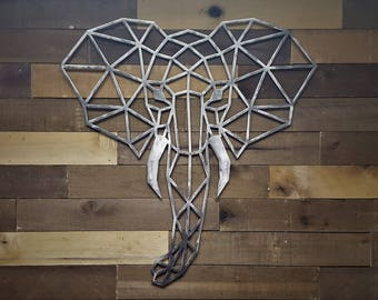 Geometric Elephant Metal Wall Décor