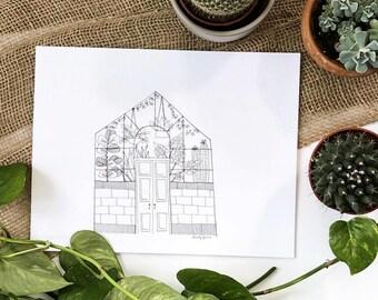 PRINT- Greenhouse ink illustration, plant lady, gardener