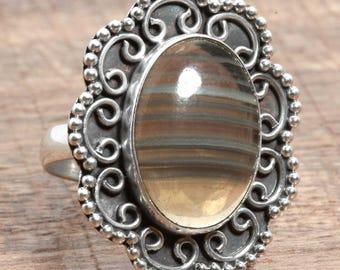Natural Multi Fluorite Gemstone Handmade 925 Sterling Silver Ring US Ring Size 9
