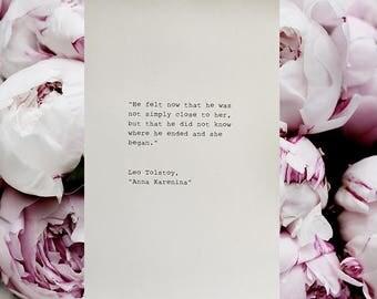 Leo Tolstoy Anna Karenina Typewriter Quote 4x6