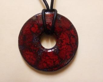Pendant red donut ceramics
