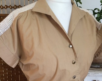 Vintage 1980s taupe shirt waister shirt dress with crochet panels and belt with elasticated waist by berketex of london size large uk 12 14