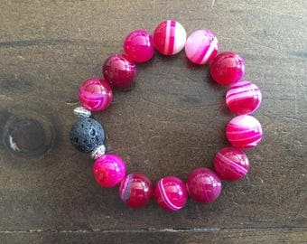 Diffuser bracelet with pink agate