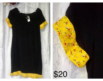 Black Shift Dress with Yellow Accent Size 14
