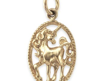 SOLID 9ct Gold UNICORN Oval Pendant (2.1 grams UK Hallmarked)