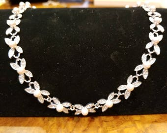 Beautiful pearl and cz necklace