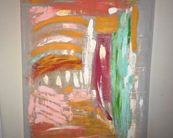 Original Abstract Acrylic Painting on Canvas Pink/Orange/Gold Accent