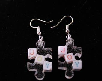 Resin Letter JOY Earrings Jewelry