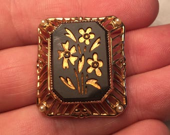 Vintage Coro Signed Floral Brooch Pin