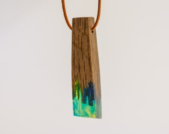 Blue green wood and resin pendant