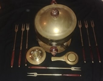 Vintage solid brass fondue pot with utensils