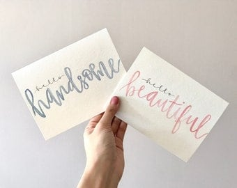 personalized card / custom card / hand painted card / hand lettering / handmade card / watercolour / love card / for him / his and hers