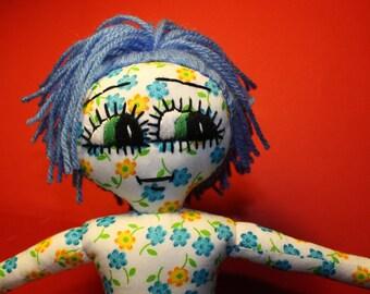 Handmade Rag Doll / OOAK / Cloth Doll / Ditsy Prints / Quirky / Flowers