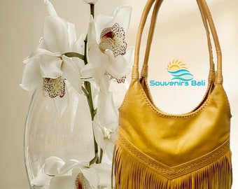 Maya Tan leather Hobo Bag With Fringed