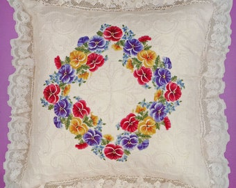 Janlynn Candlewicking Embroidery Pansies Pillow