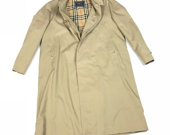 Vintage BURBERRY Plaid Trench Coat Made in England