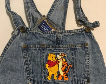 Winnie the Pooh Overalls Coveralls Size Medium Vintage Jean
