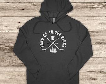 Adult Hoodie Land of 10,000 Rinks, Hockey Sweatshirt, Hockey Hoodie, Minnesota Hockey, Hockey Apparel, Minnesota Apparel