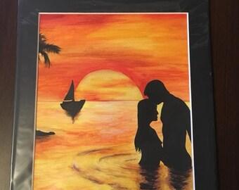 Original watercolour painting 'Caribbean love'