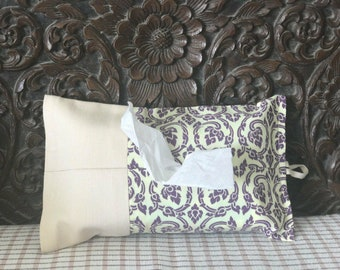 White Canvas & Thai pattern 100% Cotton Tissue Packet Cover