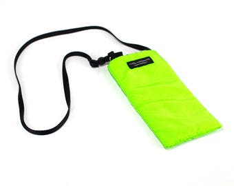 Eyeglass case for readers - Neon Green Nylon fabric Eyeglass Reader Case -with neck strap lanyard