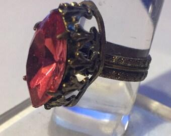 Vintage  Antique Art Deco Nouveau Brass Ring Pink Stone