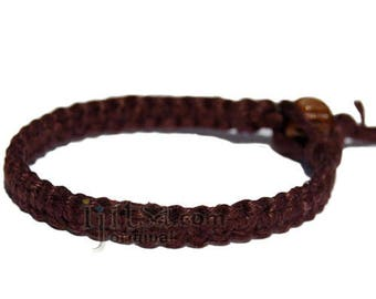 Dark brown flat hemp surfer bracelet or anklet
