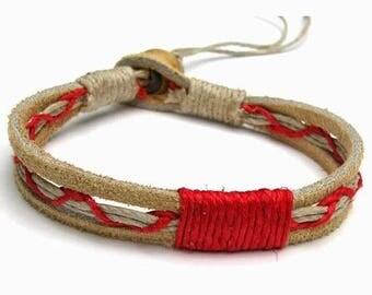 Tan Leather Red Hemp Bracelet or Anklet