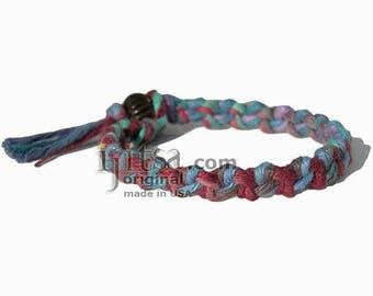 Muted rainbow hemp chain bracelet or anklet