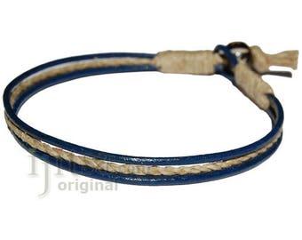 Dark blue leather & hemp bracelet or anklet