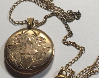 Vintage Etched Gold Filled Locket
