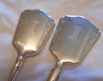 International Sterling Silver Vanity Hand Mirror & Matching Hair Brush Art Deco Boudoir Set