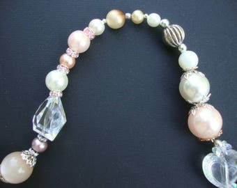 Suncatcher, Yard Art, PINK and WHITE PEARLS  Vintage decor, Glass beads, Crystals, original, one of a kind, vintage beads