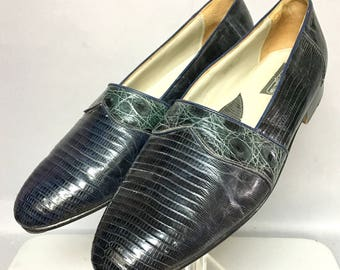 Unique 1980's Blue LIZARD LEATHER Loafers, Mens DISCO Shoes, size 12 Mens