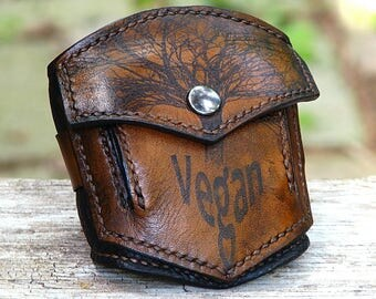 Worst Vegan Ever Brown Wrist Wallet Cuff with Secret Pocket - Made To Order
