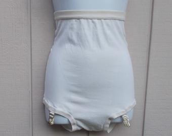 "Vintage White High Waist Panties with Garter Straps / Burlesque rockabilly style high waist nylon briefs / 28"" 30"" to 32"" waist"